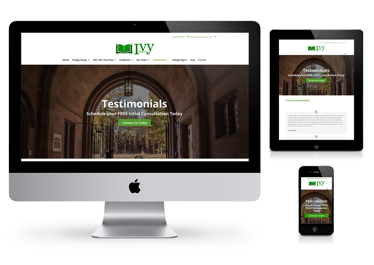 Ivy Experience Website by Fab Web Philly